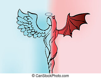 Background with women angel and demon. Vector illustration