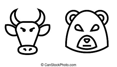 Stock Market Bulls and Bears Thin Line Vector Icon. Flat...