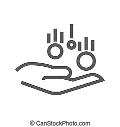 Coin in Hand Thin Line Vector Icon. Flat icon isolated on...