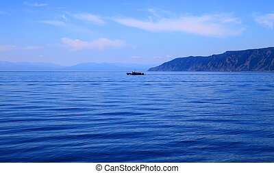Lake Baikal  - Ship in middle of the Lake Baikal, summer.