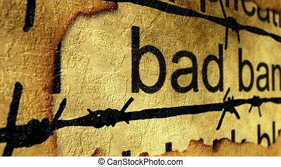 Bad bank barbwire grunge concept
