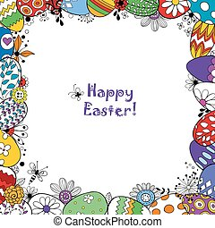 Easter holiday background - Frame made of Easter eggs and...