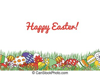 Easter holiday background - Border made with Easter eggs in...