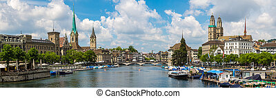 Historical part of Zurich - Panorama of Historical part of...