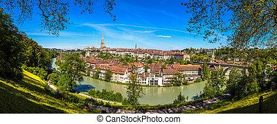 Bern and Berner Munster cathedral - Panoramic view of Bern...