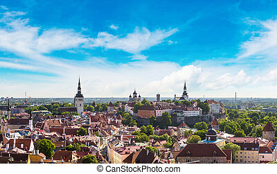 Aerial View of Tallinn and Toompea Hill - Aerial View of...