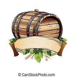 Wooden beer barrel still life