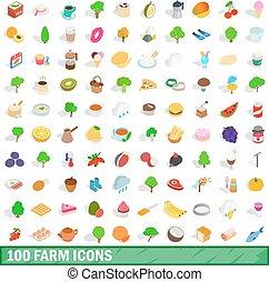 100 farm icons set, isometric 3d style - 100 farm icons set...