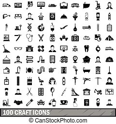 100 craft icons set, simple style - 100 craft icons set in...