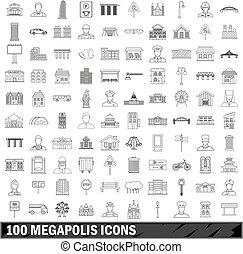 100 megapolis icons set, outline style - 100 megapolis set...