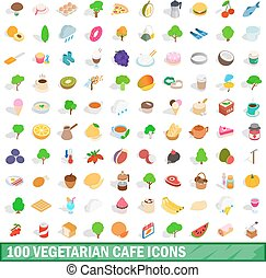 100 vegetarian cafe icons set, isometric 3d style - 100...