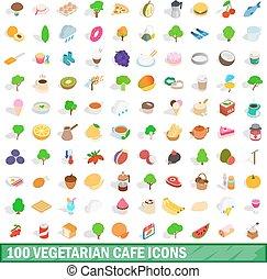 100 vegetarian cafe icons set, isometric 3d style - 100...