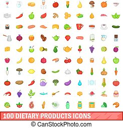 100 dietary products icons set, cartoon style - 100 dietary...