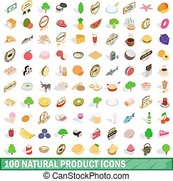 100 natural product icons set, isometric 3d style - 100...