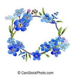 Wildflower myosotis arvensis flower wreath in a watercolor...