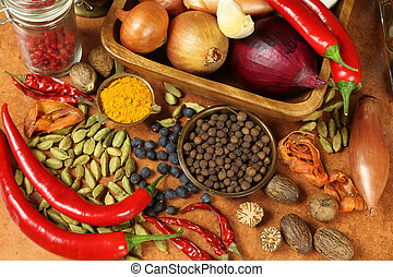 Colorful food - Herbs and spices selection Aromatic...