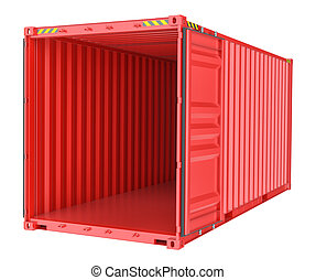 Shipping container on white background