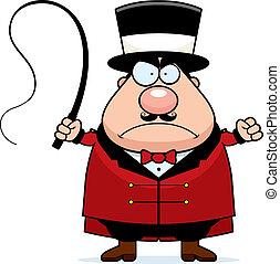Ringmaster Angry - A cartoon ringmaster frowning and looking...