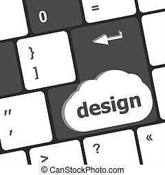 design word on computer keyboard keys button