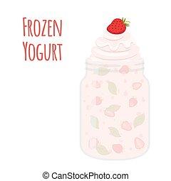 Frozen yogurt with strawberry in mason jar. Sweet dessert...