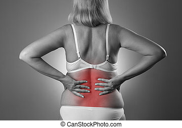 corps, douleur,  inflammation, femme, dos, douleur, rein