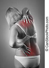 corps, corps, douleur, femme, dos, femme, douleur, masage