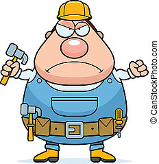 Angry Handyman - An angry cartoon handyman frowning and...