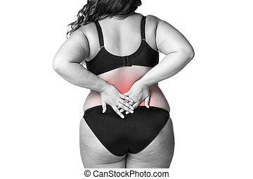 Back pain, fat woman with backache, overweight female body...
