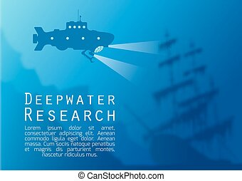 Blurred underwater background with submarine - Blurred...