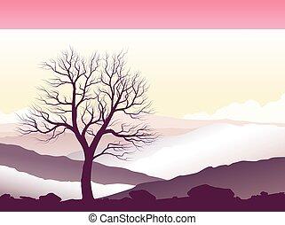 Purple mountain landscape. Wild nature at sunset. Vector...