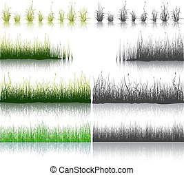 Set of Green and Black Grass isolated on white