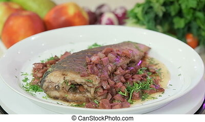 Stewed fish with vegetables - Stewed fish garnished with...