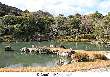 Sogen pond garden of Tenryu ji in Kyoto, Japan
