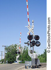 Railway Crossing - Grade crossing with two gates, lights,...
