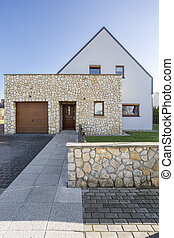 House with natural stone elevation - Modern house exterior...