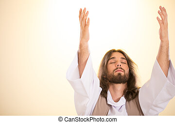 Jesus with eyes closed raising hands to heaven