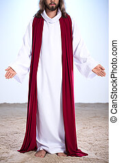 Resurrected Jesus standing on sand with open arms