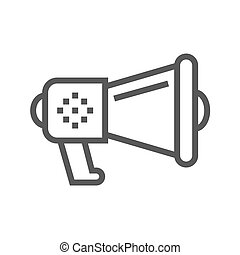 Loud Speaker Thin Line Vector Icon. Flat icon isolated on...
