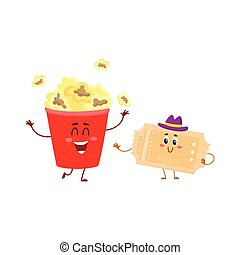 Cinema popcorn and vintage movie ticket characters with...
