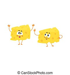 Two funny cheese chunk characters, showing thumb up and greeting