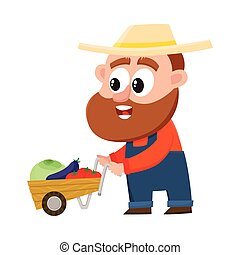 Funny farmer, gardener character pushing barrow, handcart with vegetables