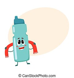 Funny smiling protein shaker bottle character with a towel