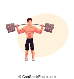 Man bodybuilder, weightlifter working out, training with...