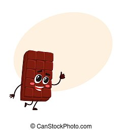 Cute chocolate bar character with funny face, giving thumb up