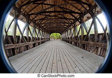 interior, cubierto, Puente