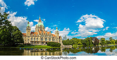 New City Hall in Hannover - Panorama of New City Hall in...