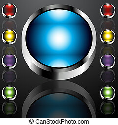Big Chrome Buttons - An image of big chrome buttons.