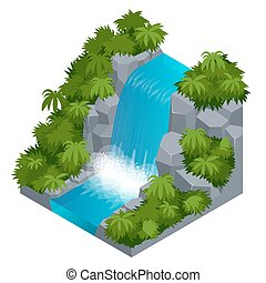 Waterfall in tropical forest. Build your own infographics...