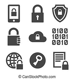 Digital Encrypt Technology Security Icons Set. Vector...