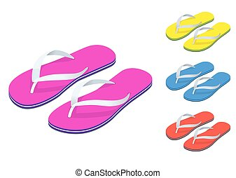 Isometric Slippers set of female with Multicolored slippers...